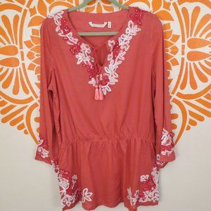 NWOT Soft Surroundings Coral Embroidered Blouse M